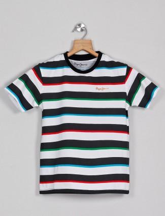 Pepe jeans white stripe casual polo t-shirt