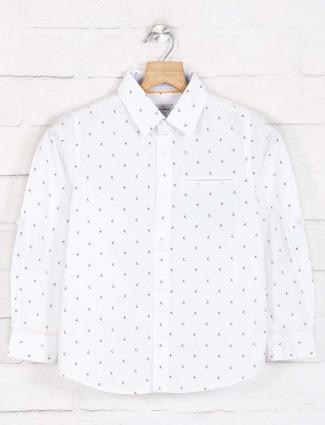Pepe jeans white slim fit printed shirt