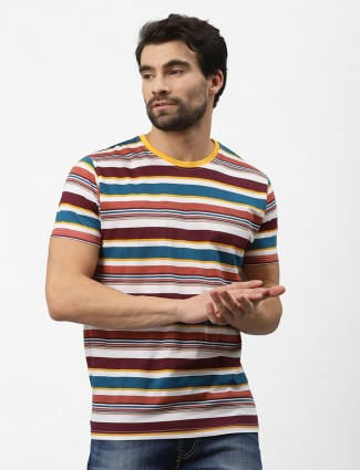 Pepe maroon and white cotton stripe casual wear t-shirt