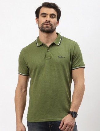 Pepe t-shirt casual wear in solid green cotton