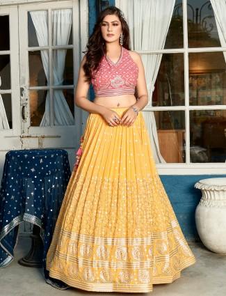 Pine yellow and pink georgette wedding functions lehenga choli