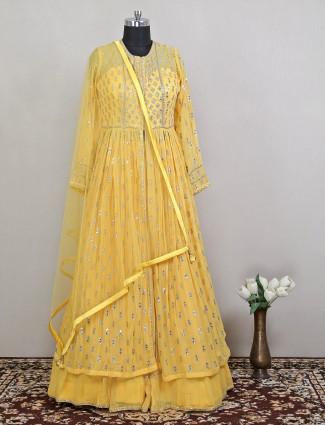 pine yellow awesome hue wedding wear floor-length dress