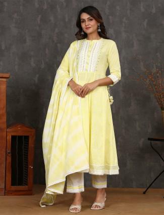 Pine yellow cotton punjabi anarkali style kurti set