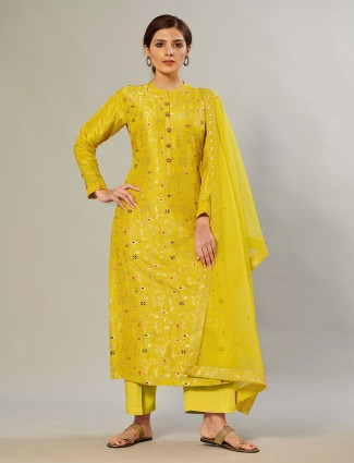 Pine yellow festive look silk palazzo suit for women
