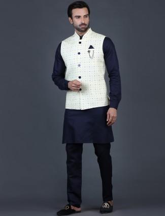 Pine yellow printed cotton silk waistcoat set for mens
