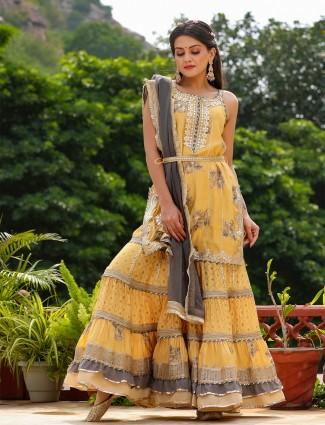 Pine yellow printed cotton wedding wear punjabi style sharara suit