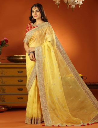 Pine yellow tissue silk wedding wear saree with ready made blouse