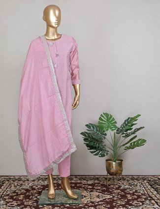 Pink adorable wedding wear pant suit with zari work details