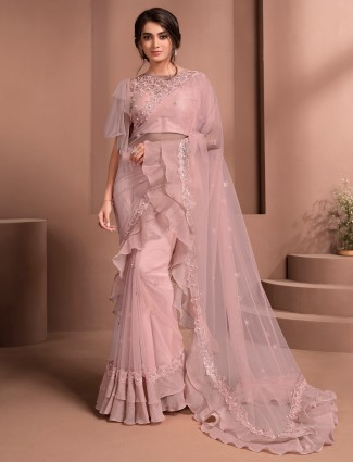 Pink alluring net party events saree
