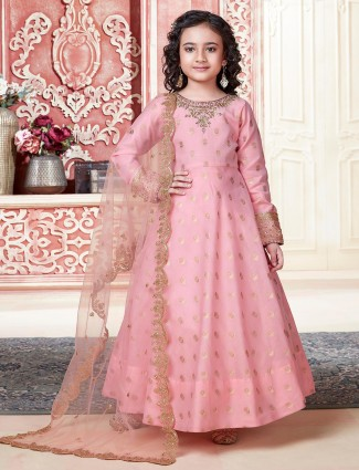 Pink anarkali suit for girls in cotton silk
