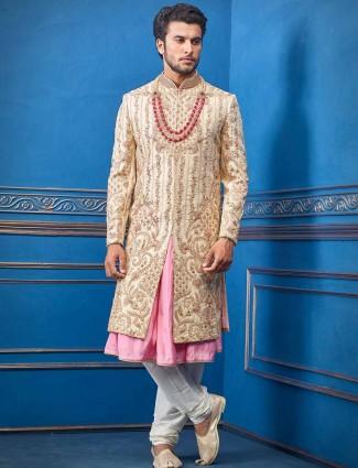 Pink and beige new stylish silk sherwani