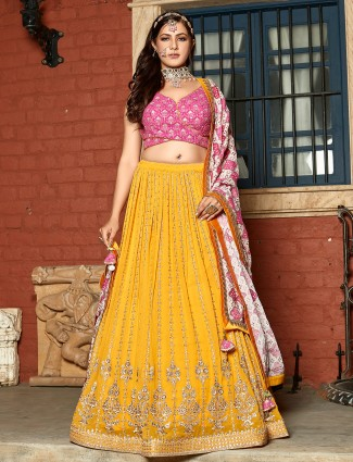pink and bright yellow georgette wedding functions lehenga choli