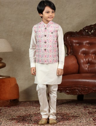 pink and cream cotton waistcoat set festive days special