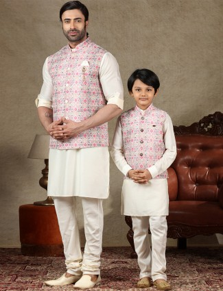 Pink and cream cotton waistcoat set special for father and son