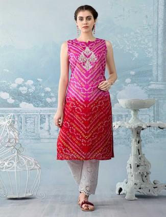 Magenta and red thread work Kurti set in cotton