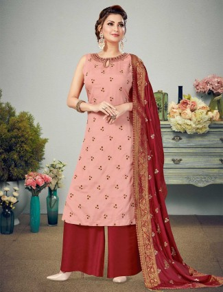 pink and maroon designer punjabi palazzo set