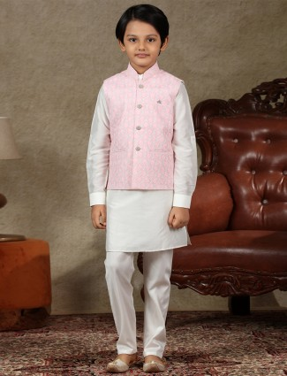 Pink and off white cotton with boys waistcoat set