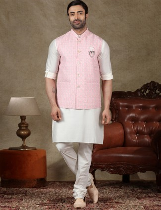 Pink and off white cotton with mens waistcoat set