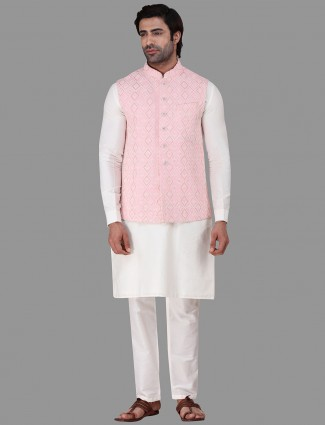 Pink and white cotton party function waistcoat set