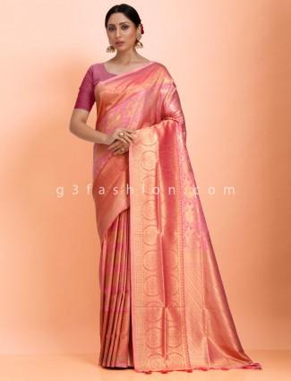 Pink art kanjivaram silk saree in wedding