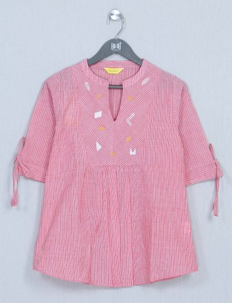 Pink casual wear womens cotton top