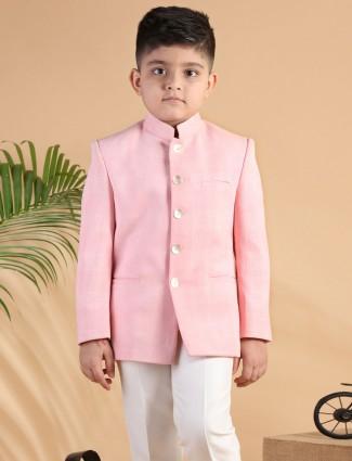 Pink checks terry rayon jodhpuri boys coat suit