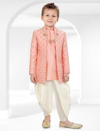 Pink chinese neck cotton silk indo western