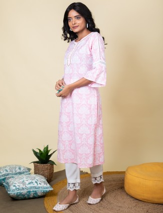 Pink color cotton punjabi style printed pant suit