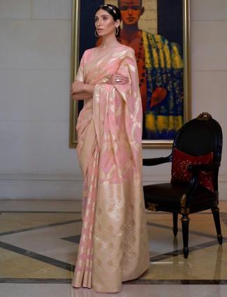 Pink color cotton silk fabric wedding saree