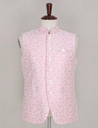 Pink colour silk party wear waistcoat