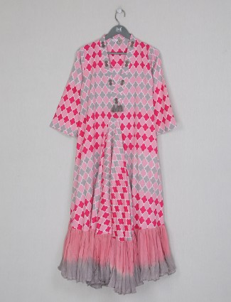 Pink cotton casual functions printed kurti