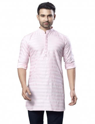 Pink cotton festive wear kurta with stripe style