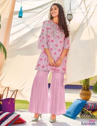 Pink cotton festive wear sharara suit