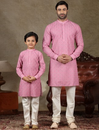 Pink cotton kurta suit special for father and son
