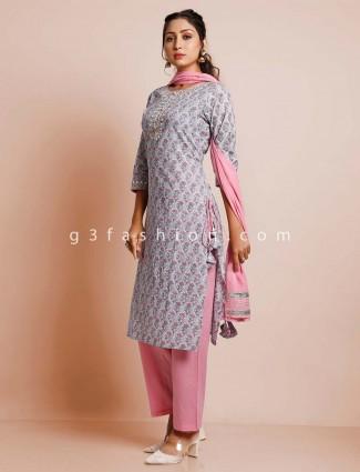 Pink & grey cotton pant suit for festive