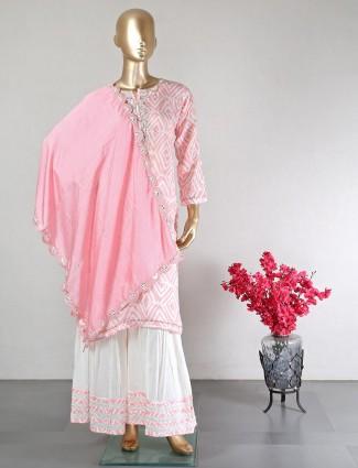 Pink cotton party wear designer salwar kameez