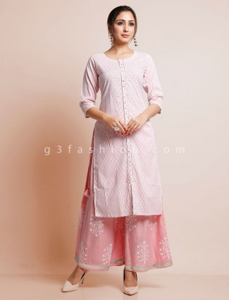 Pink cotton printed palazzo suit fot festival