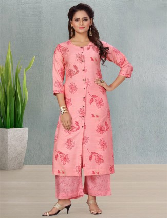 Pink cotton punjabi style printed palazzo suit for casual