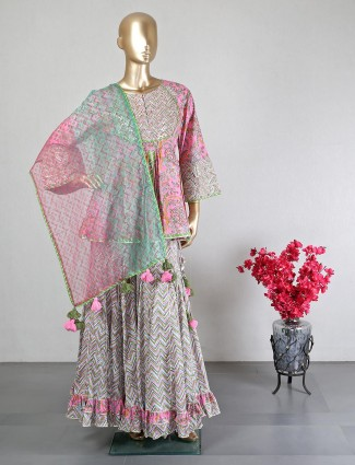 Pink cotton sharara suit for wedding