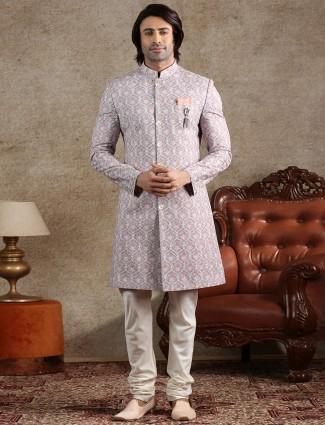 Pink cotton silk designer party indo western