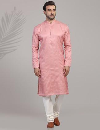 Pink cotton silk festive occasion kurta suit