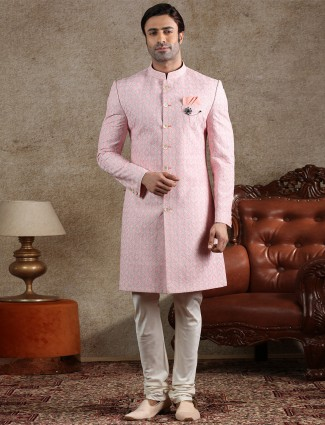 Pink cotton silk indo western for party