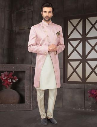Pink cotton silk mens indo western wedding wear