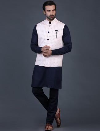 Pink cotton silk mens waistcoat set