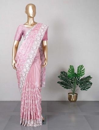 Pink cotton silk saree for women