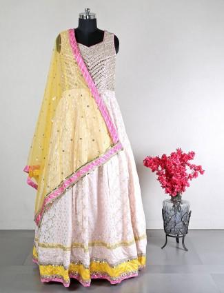 Pink cotton silk wedding wear anarkali