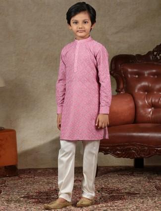 Pink cotton stand collar boys kurta suit