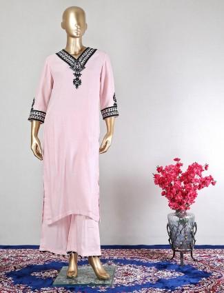 Pink cotton wedding wear designer palazzo suit