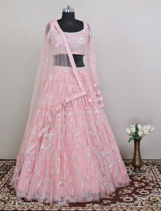 Pink deisgner net lehenga choli for wedding and receptions