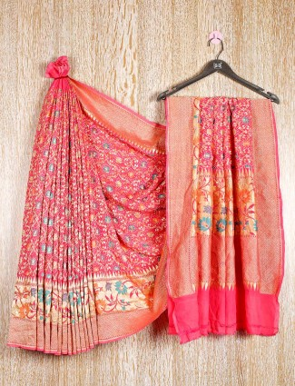 Pink designer bandhej saree look for wedding